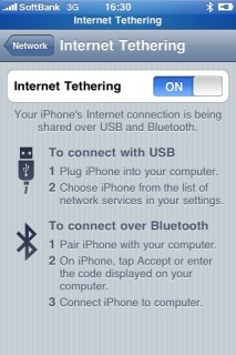 iPhone 3GS Internet Tethering