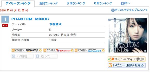 オリコンデイリーランキング 2010/1/12 一位 水樹奈々 PHANTOM MINDS